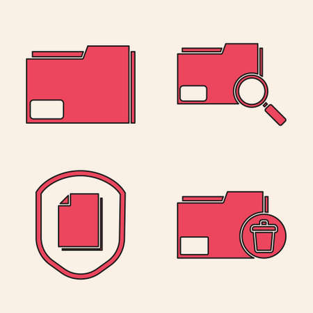 Set Delete folder, Document folder, Search concept with folder and Document protection concept icon. Vector