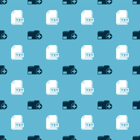 Set Add new folder and TXT file document on seamless pattern. Vector
