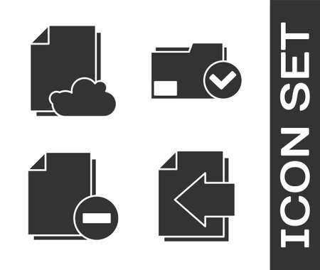 Set Next page arrow, Cloud storage text document, Document with minus and Document folder and check mark icon. Vector