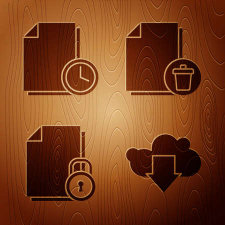 Set Cloud download, Document with clock, Document and lock and Delete file document on wooden background. Vector