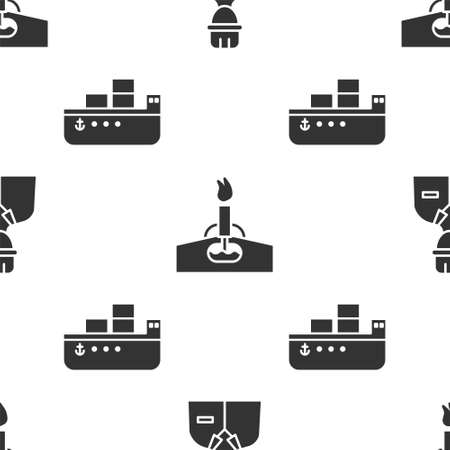 Set Oilman, Oil rig with fire and Oil tanker ship on seamless pattern. Vector