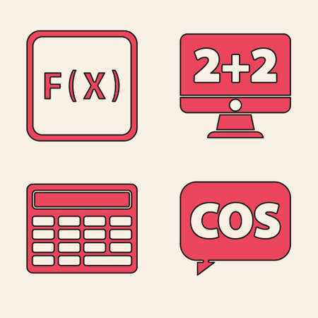 Set Mathematics function cosine, Function mathematical symbol, Equation solution and Calculator icon. Vector