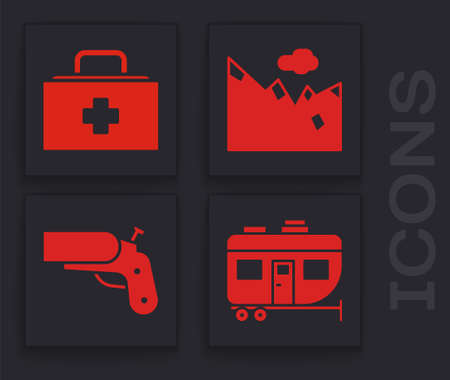 Set Rv Camping trailer, First aid kit, Mountains and Flare gun pistol icon. Vector