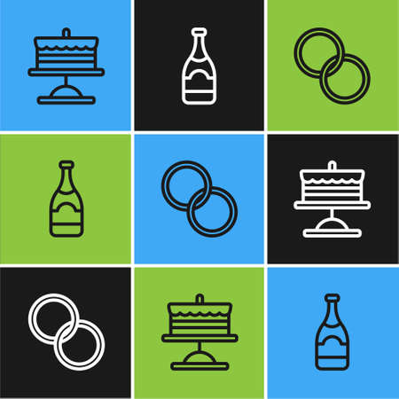 Set line Cake on plate, Wedding rings and Champagne bottle icon. Vector