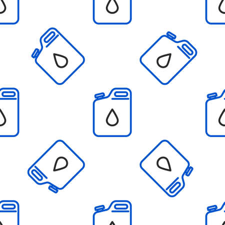 Line Canister for gasoline icon isolated seamless pattern on white background. Diesel gas icon. Colorful outline concept. Vector