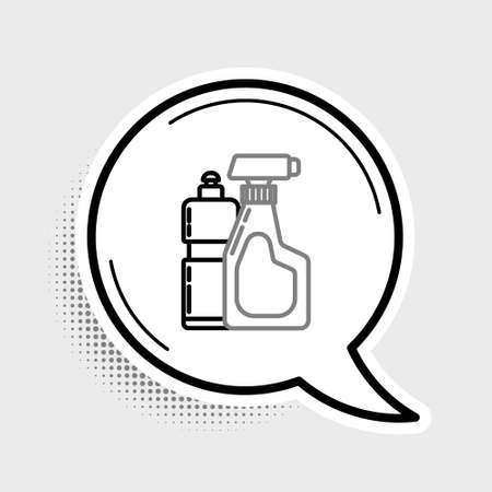 Line Plastic bottles for liquid laundry detergent, bleach, dishwashing liquid or another cleaning agent icon isolated on grey background. Colorful outline concept. Vector