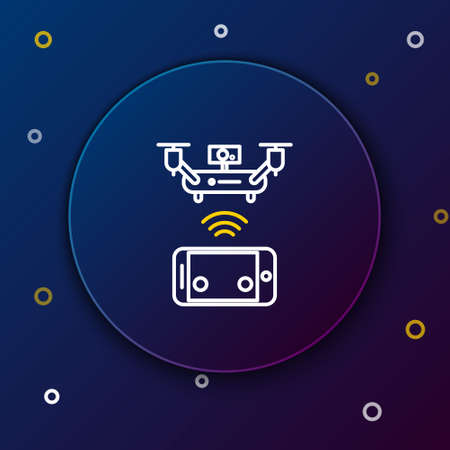 Line Remote aerial drone with a camera taking photography or video recording icon isolated on blue background. Colorful outline concept. Vector