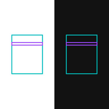 Line Plastic bag with ziplock icon isolated on white and black background. Colorful outline concept. Vector