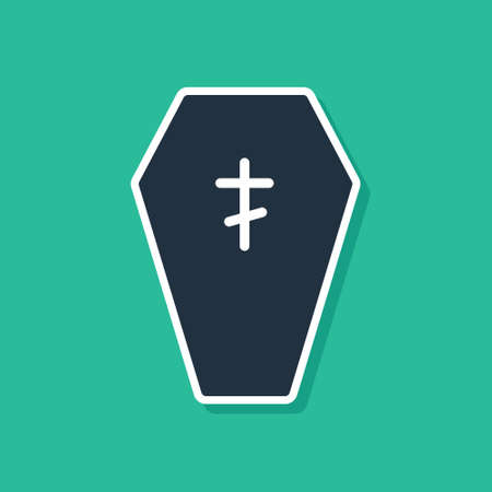 Blue Coffin with christian cross icon isolated on green background. Happy Halloween party. Vector