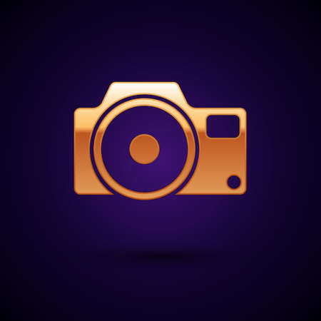 Gold Photo camera icon isolated on black background. Foto camera icon. Vector