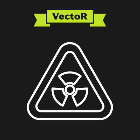 White line Triangle sign with radiation symbol icon isolated on black background. Vector