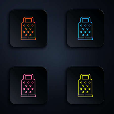 Color neon line Grater icon isolated on black background. Kitchen symbol. Cooking utensil. Cutlery sign. Set icons in square buttons. Vector