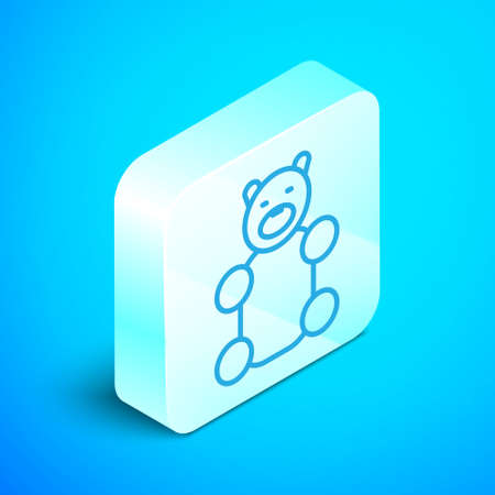Isometric line Jelly bear candy icon isolated on blue background. Silver square button. Vector