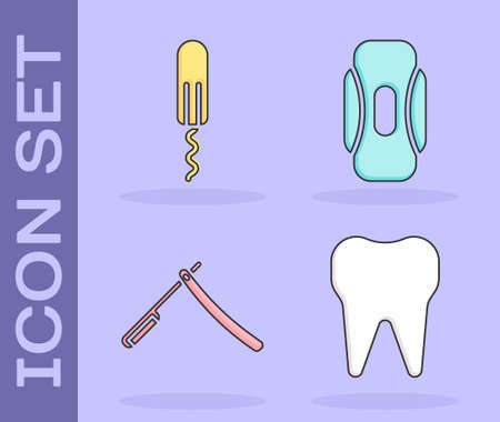 Set Tooth, Sanitary tampon, Straight razor and Sanitary napkin icon. Vector