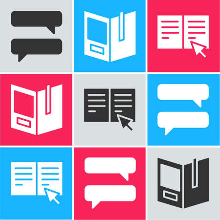 Set Speech bubble chat, Open book and Online book icon. Vector