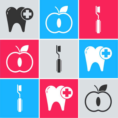 Set Tooth, Apple and Toothbrush icon. Vector