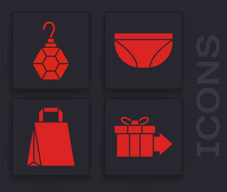 Set Gift box, Earring, Underwear and Paper shopping bag icon. Vector