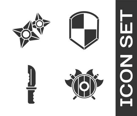 Set Medieval shield with crossed axes, Japanese ninja shuriken, Military knife and Shield icon. Vector
