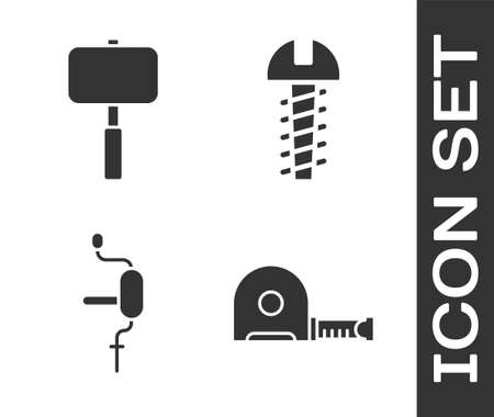 Set Roulette construction, Sledgehammer, Hand drill and Metallic screw icon. Vector Ilustração