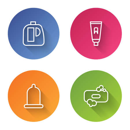 Set line Bottles for cleaning agent, Tube of toothpaste, Condom and Bar soap. Color circle button. Vector