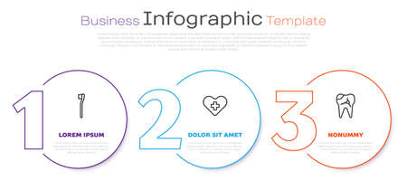 Set line Toothbrush, Heart with a cross and Broken tooth. Business infographic template. Vector