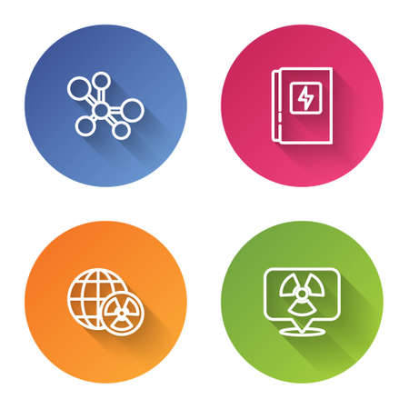 Set line Molecule, Electrical panel, Planet earth and radiation and Radioactive in location. Color circle button. Vector