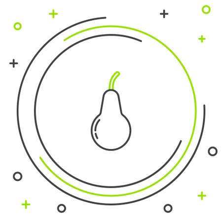 Line Pear icon isolated on white background. Fruit with leaf symbol. Colorful outline concept. Vector