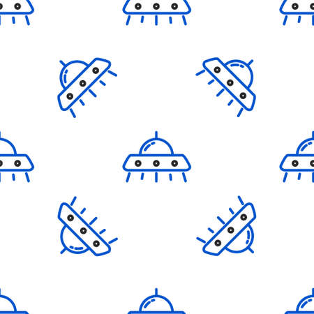 Line UFO flying spaceship icon isolated seamless pattern on white background. Flying saucer. Alien space ship. Futuristic unknown flying object. Colorful outline concept. Vector