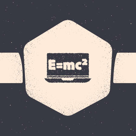 Grunge Math system of equation solution on laptop icon isolated on grey background. E equals mc squared equation on computer screen. Monochrome vintage drawing. Vector