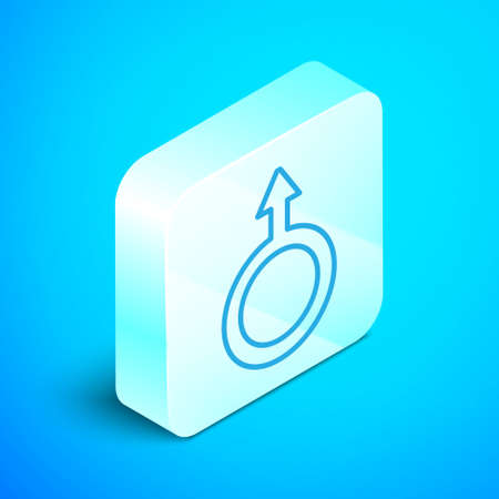 Isometric line Male gender symbol icon isolated on blue background. Silver square button. Vector