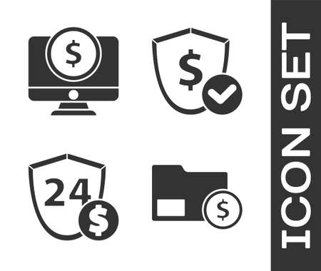 Set Envelope with coin dollar, Computer monitor with dollar, Shield with dollar and Shield with dollar icon. Vector