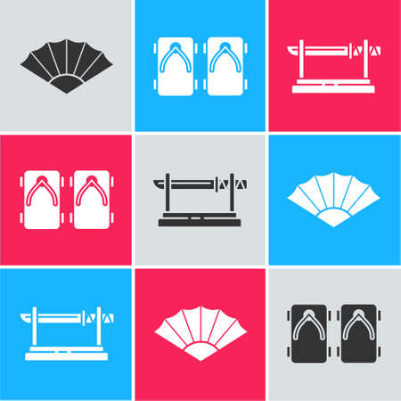 Set Paper chinese or japanese folding fan, Geta traditional Japanese shoes and Traditional Japanese katana icon. Vector