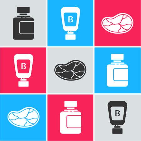 Set Sauce bottle, Sauce bottle and Steak meat icon. Vector