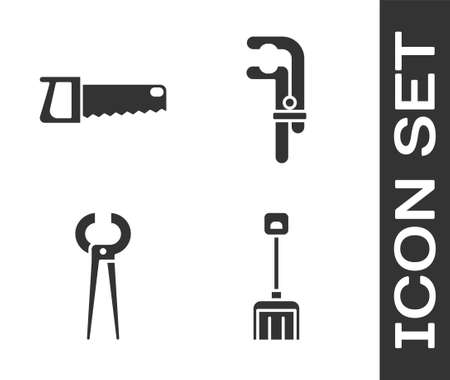 Set Snow shovel, Hand saw, Pincers and pliers and Clamp tool icon. Vector