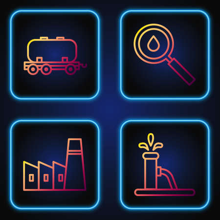 Set line Oil pump or pump jack, Oil industrial factory building, Oil railway cistern and Oil drop. Gradient color icons. Vector Illusztráció