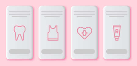 Set line Tooth, Sleeveless T-shirt, Heart with a cross and Tube of toothpaste. White rectangle button. Vector