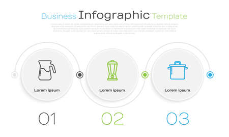 Set line Jug glass with water, Blender and Cooking pot. Business infographic template. Vector Çizim