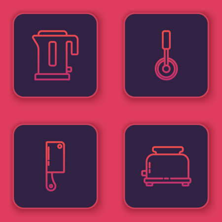Set line Electric kettle, Meat chopper, Pizza knife and Toaster. Blue square button. Vector