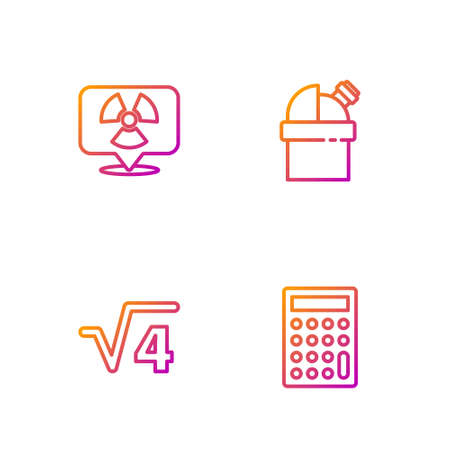 Set line Calculator, Square root of 4 glyph, Radioactive in location and Astronomical observatory. Gradient color icons. Vector