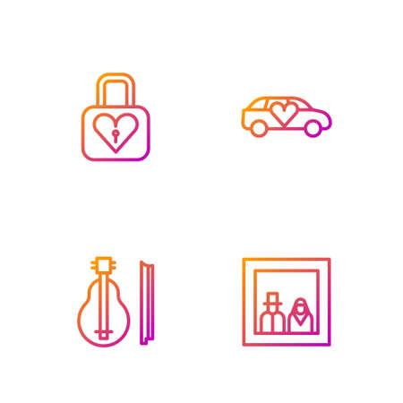 Set line Family photo, Violin, Lock and heart and Limousine car. Gradient color icons. Vector