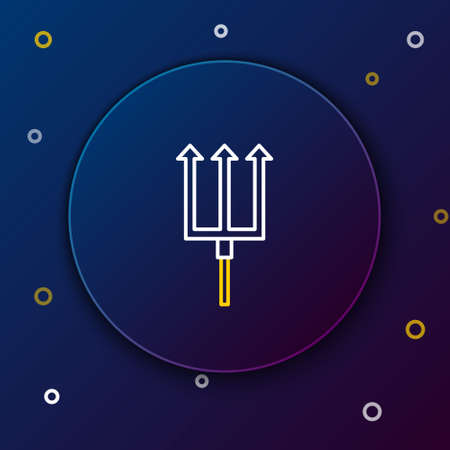 Line Neptune Trident icon isolated on blue background. Colorful outline concept. Vector