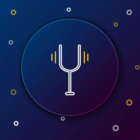 Line Musical tuning fork for tuning musical instruments icon isolated on blue background. Colorful outline concept. Vector