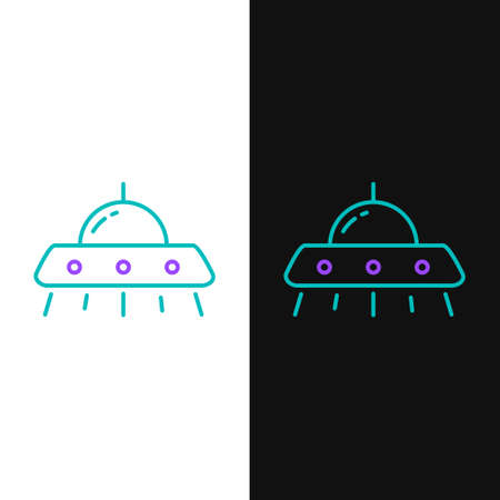 Line UFO flying spaceship icon isolated on white and black background. Flying saucer. Alien space ship. Futuristic unknown flying object. Colorful outline concept. Vector