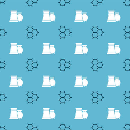Set Chemical formula consisting of benzene rings and Oil and gas industrial factory building on seamless pattern. Vector  イラスト・ベクター素材