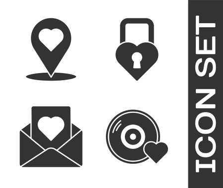 Set Romantic music, Map pointer with heart, Envelope with heart and Castle in the shape of a heart icon. Vector