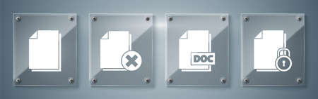 Set Document and lock, DOC file document, Delete file document and Document. Square glass panels. Vector