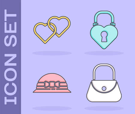 Set Handbag, Two Linked Hearts, Elegant women hat and Castle in the shape of a heart icon. Vector Illusztráció