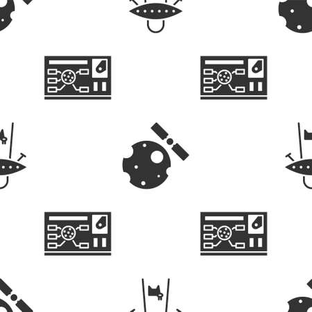 Set UFO abducts cow, Satellites orbiting the planet Earth and Futuristic hud interface on seamless pattern. Vector