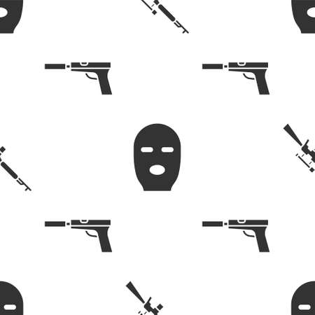 Set Sniper rifle with scope, Thief mask and Pistol or gun with silencer on seamless pattern. Vector