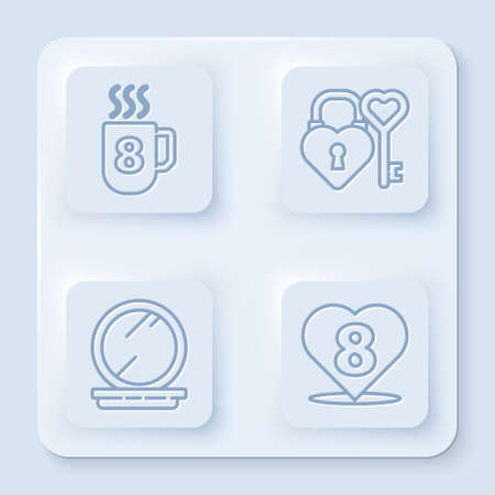 Set line Coffee cup with 8 March, Castle and key in heart shape, Makeup powder with mirror and Heart with 8 March. White square button. Vector Illusztráció